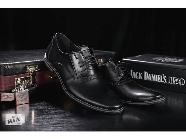 продам Мужские туфли кожаные весна/осень черные Vankristi 343 бу в Хмельницком