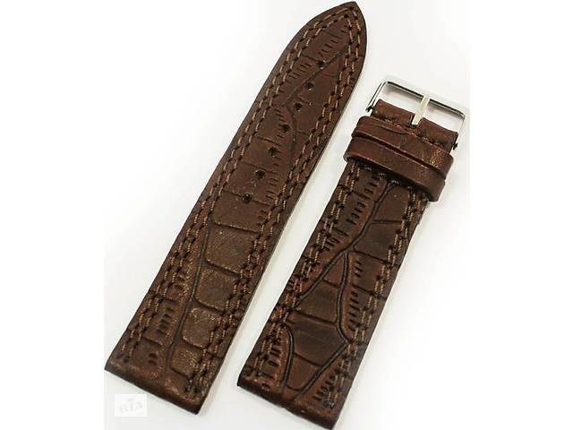 Надежный кожаный мужской ремешок для часов под кожу крокодила Mykhail Ikhtyar 8020 коричневый