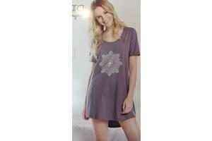 Нічна сорочка - туніка з коротким рукавом, ніжно - бузкового кольору, розмір L