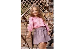 Нарядная детская блузка из натуральной ткани с вышивкой