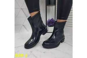 Чоботи черевики гумові непромокальні утеплені зі змійкою ззаду 36-40р, 828-1
