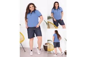 Повседневный женский костюм футболка джинс и шорты SKL11-293796