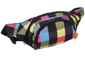 Поясная сумка  в клетку Paso 15-589B разноцветная