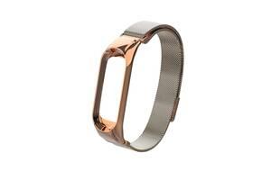 Ремешок для фитнес браслета Xiaomi Mi Band 3 и 4, Milanese design bracelet, Rose gold