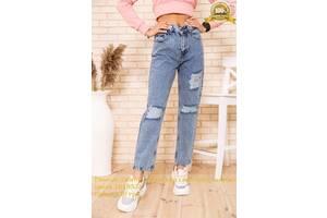 Рваные джинсы женские свободны голубого цвета 164R574