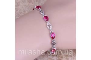 Серебряный браслет с рубином