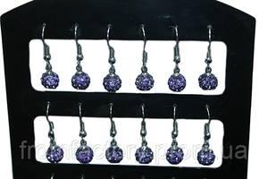 Сережки со стразами Шамбала (2шт/Ø7мм/Фиолетовый)