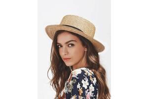Шляпа соломенная женская канотье с твердыми полями летняя от солнца