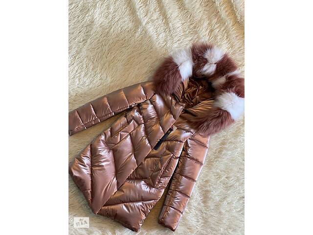 бу Шикарное зимнее пальто для девочки Бархат Шоколад с натуральным мехом, сидит идеально в Харькове