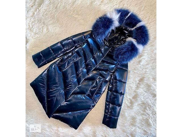Шикарное зимнее пальто для девочки Бархат Синий с натуральным мехом, до минус 30 мороза- объявление о продаже  в Харькове
