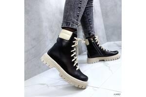 Стильные кожаные женские ботинки деми, ботинки на бежевой подошве 37,39,40р