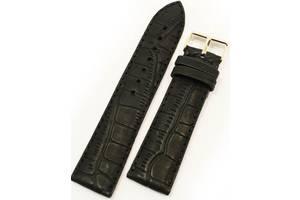 Стильный мужской кожаный прочный ремешок для часов под кожу крокодила Mykhail Ikhtyar 8029 черный