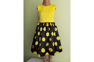 Праздничная детская желтое платье с бантом, модель № 50