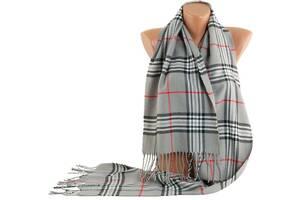 Теплый мужской шарф в крупную клетку Traum2493-07 серый
