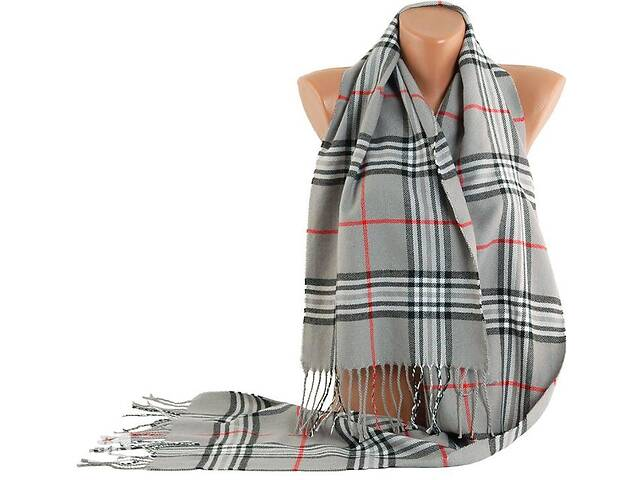купить бу Теплый мужской шарф в крупную клетку Traum2493-07 серый в Киеве