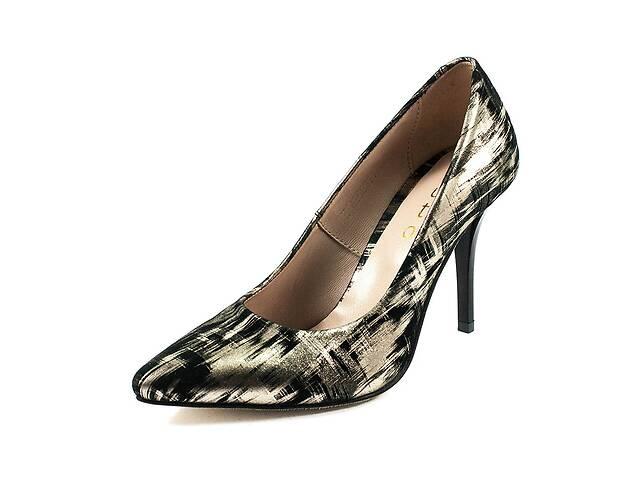 купить бу Туфли женские Tutto Shoes T3016 черно-золотая кожа (36) в Харкові