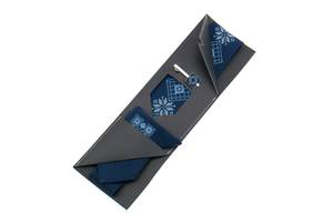 Вышитая галстук с платком и зажимом №853