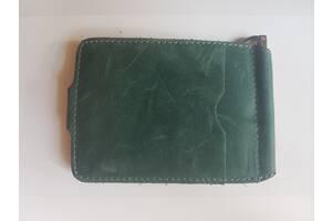 Зажим для купюр зеленый из натуральной кожи KAFA