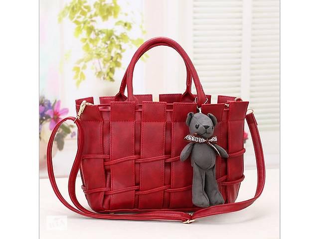 купить бу Женская сумка с переплетами и брелком мишкой в Хмельницком