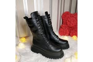 Жіночі шкіряні зимові чоботи 00664