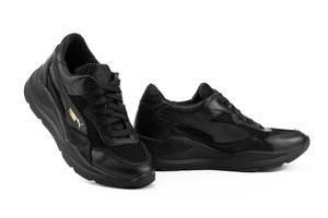 Женские кроссовки кожаные летние черные Yuves 778 Black Сетка