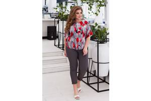 Женский костюм блуза и брюки красный принт SKL11-291392