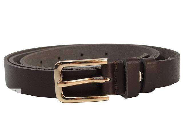 Женский кожаный ремень Skipper темно коричневый 2 см
