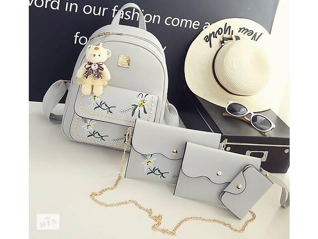 купить бу Женский рюкзак сумочка кошелек визитница набор комплект рюкзачок сумка кошелек Серый в Днепре (Днепропетровск)