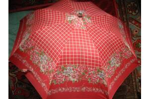 зонт полуавтомат складной двойной советский, розовый с цветами. торг