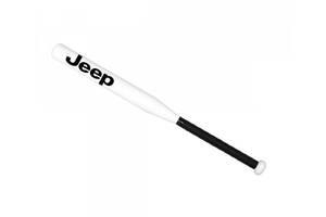 Бита бейсбольная подарочная Avtotrend с логотипом Jeep Белая с черной рукояткой +Чехол (avb_00096)