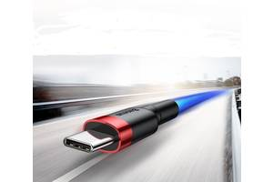 Кабель быстрой зарядки Baseus Type C 2.4A Black/Red, длина - 100 см. (CATKLF-EG1)