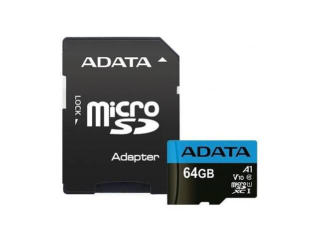 бу Карта памяти ADATA 64GB microSD class 10 UHS-I A1 Premier (AUSDX64GUICL10A1-RA1) в Харькове