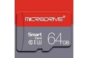 Карта памяти Microdrive MicroSDHC 64 GB, U3 Class 10 + адаптер