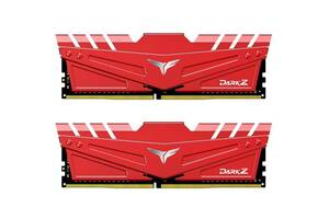 Модуль памяти для компьютера DDR4 16GB (2x8GB) 3000 MHz T-Force Dark Z Red Team (TDZRD416G3000HC16CDC01)