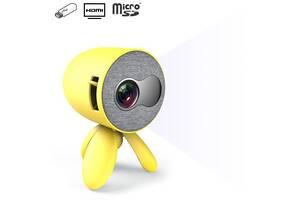 Мини видео-проектор светодиодный с динамиком YG220 с регулируемой подставкой треногой и поддержкой 1080P Желтый