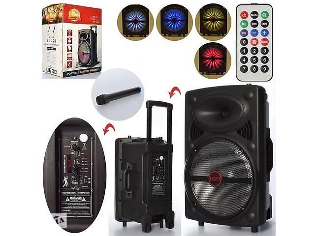купить бу Портативная аккумуляторная Bluetooth колонка-чемодан на колесах с ручкой LT-1203 в комплекте микрофон в Львове
