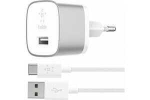 Сетевое зарядное устройство Belkin USB-3.0 Quick Charge™ with USB-A to USB-C™ Cable 1.2m, 18W, Silver F7U034VF04-SLV