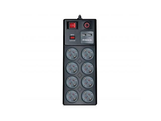 бу Сетевой фильтр питания REAL-EL RS-8F USB CHARGE 3m, black (EL122300004) в Харькове