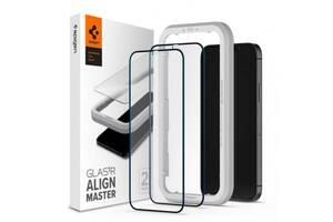 Стекло защитное Spigen iPhone 12 Pro Max Glas tR ALM FC Black (2Pack) (AGL01792)
