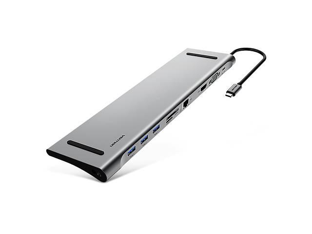 бу Vention USB-хаб Vention Aluminum 10 in 1 USB 3.1 Type-C - USB3.0х3/HDMI/VGA/RJ45/SD/TF/PD/3.5 mm audio (CMCHB) в Киеве