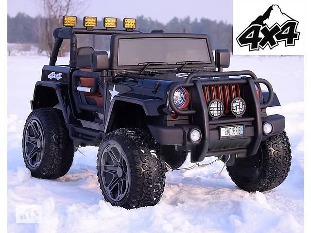 продам Дитячий електромобіль Jeep Monster: 4 мотра, 2 акум-ра, шкір.сидіння, рез.колеса EVA бу в Львові