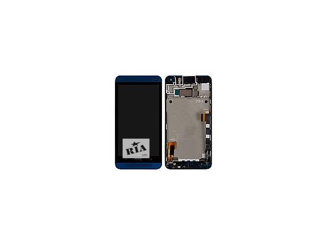купить бу Дисплей HTC One M7 801 с тачскрином в сборе (с держателем сим-карты), цвет черный, в рамке в Бердичеве