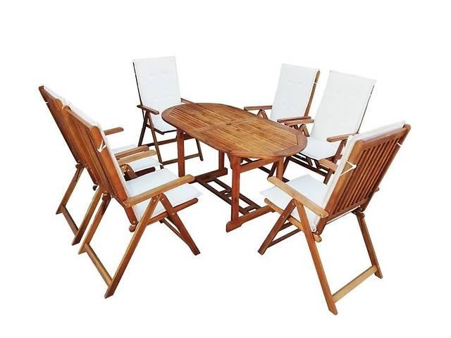 купить бу Классический набор садовой мебели из дерева акации, стол + 6 стульев в Львове