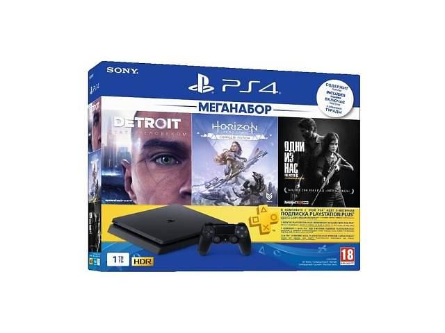 купить бу Игровая консоль SONY PlayStation 4 Slim 1TB HZD+DET+The Last of Us+PSPlus 3М (9926009) в Киеве
