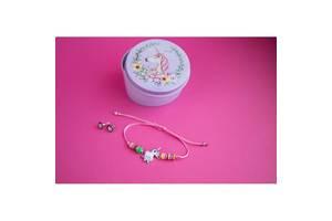 Браслет с кулоном Единорог в комплекте с серьгами-гвоздиками E&D 9742ED светло-розовый