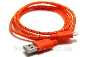 Кабель Lightning/USB (1м, разные цвета) тканевой:Оранжевый