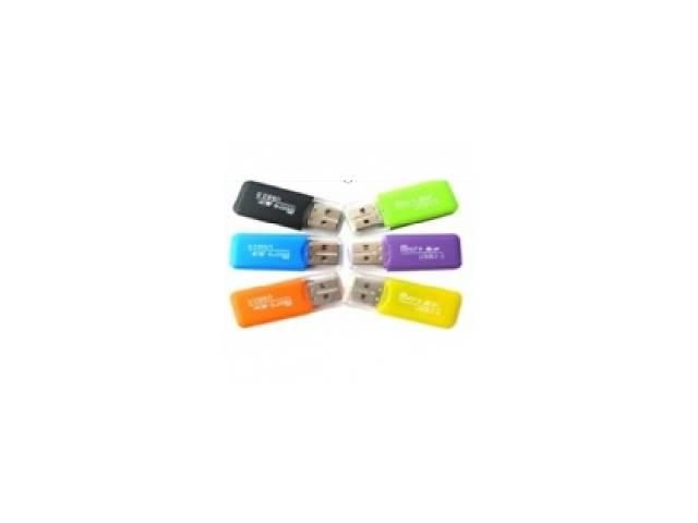 бу Кардридер универсальный MERLION CRD-1BL TF/Micro SD, USB2.0, чёрный, синий, зелёный, оранжевый в Киеве