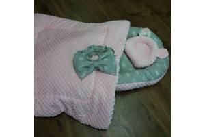 """Зимний кокон-гнездышко """"Розовый"""" + ортопедическая подушка для новорожденных + конверт-плед на выписку"""