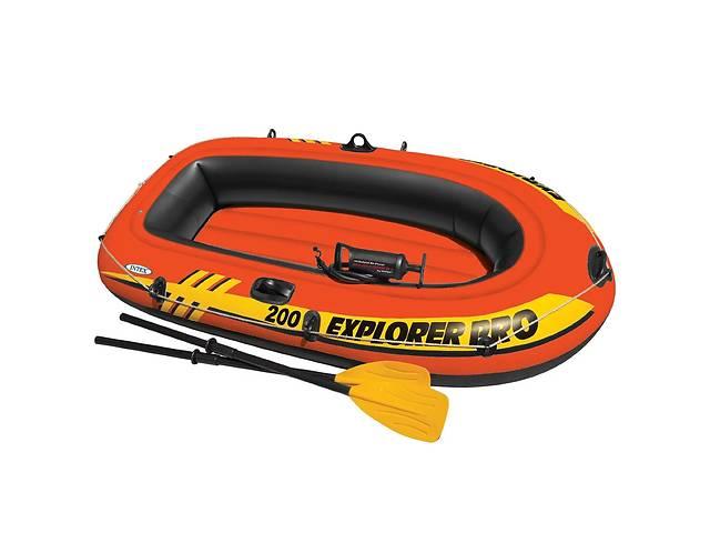 купить бу Лодка надувная двухместная с веслами и насосом Intex 58357 Explorer 200 Pro, до 120 кг в Львові