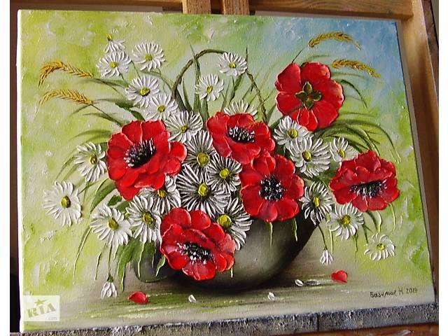 Картина маслом Полевые цветы 35х45- объявление о продаже  в Ровно